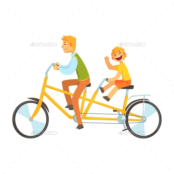 Father and Daughter Riding on Tandem Bicycle