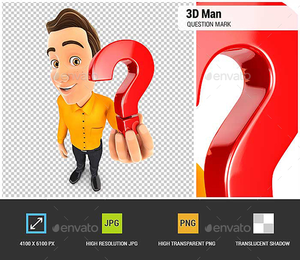 3D Man Holding a Question Mark Icon - Characters 3D Renders