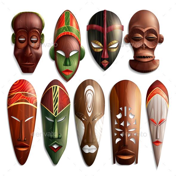 Realistic African Masks Set - Religion Conceptual