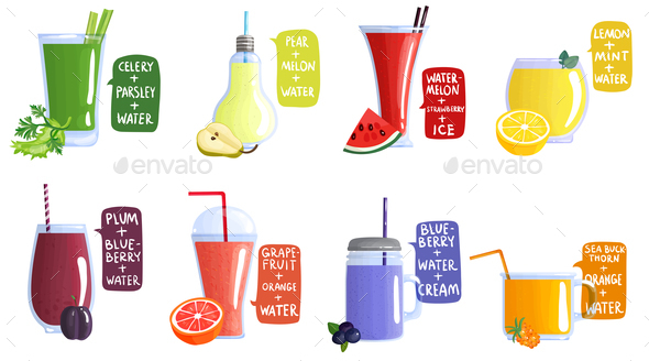 GraphicRiver Smoothie Recipe Icon Set 20793211