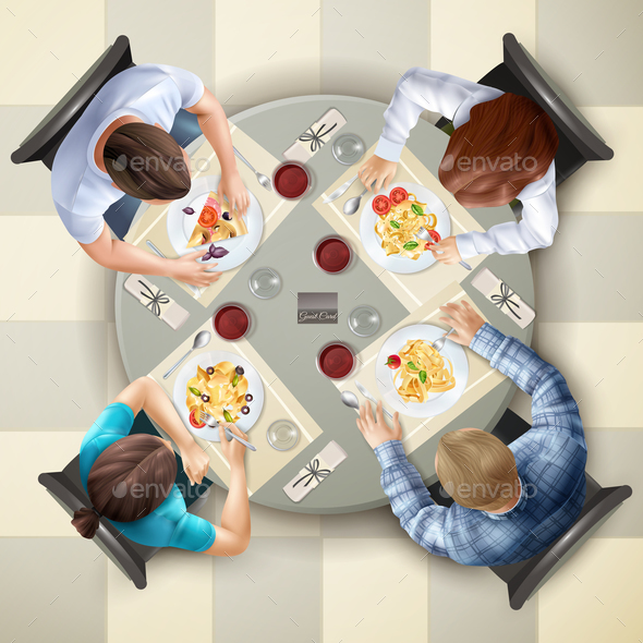 GraphicRiver Eating Characters Top View Illustration 20793244