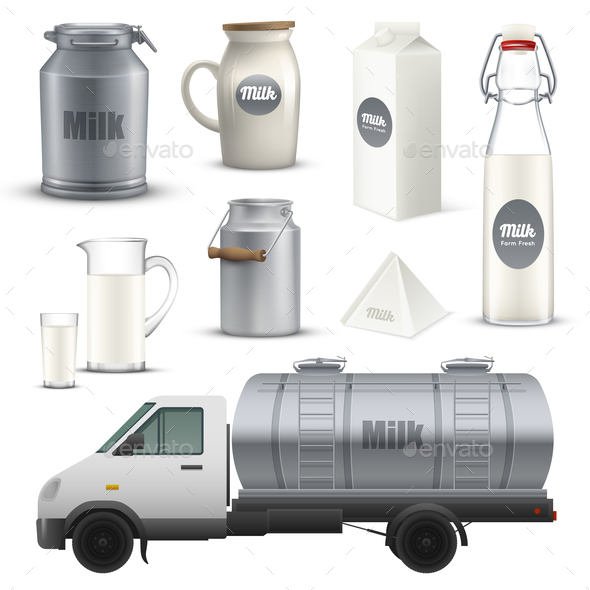 Product Milk Realistic Set - Food Objects