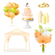 Realistic Wedding Elements Set