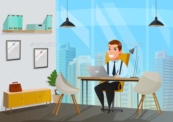 Man in Office Illustration - People Characters