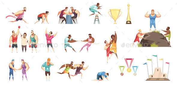 Athletes And Awards Set - Sports/Activity Conceptual