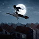 Flying Witch Cityscape - VideoHive Item for Sale