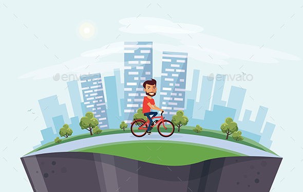 GraphicRiver Man on Electric Bicycle on the Street 20793396
