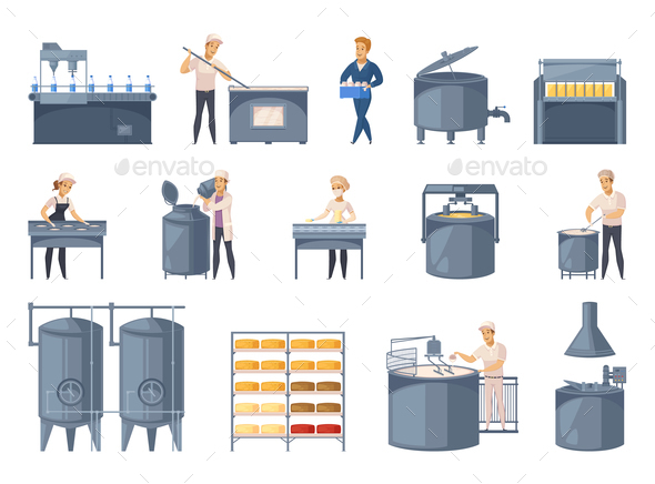 GraphicRiver Dairy Production Cartoon Icons Set 20793727
