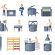 Dairy Production Cartoon Icons Set