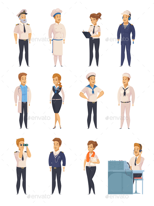GraphicRiver Yacht Ship Cartoon Characters Set 20793962