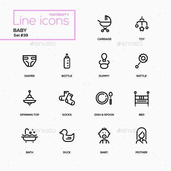 Maternity Concept - Line Design Icons Set - Miscellaneous Icons