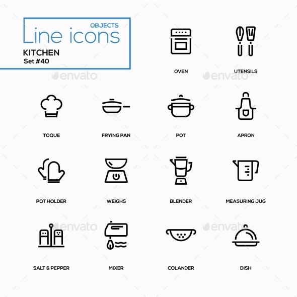 Kitchen Utensils - Line Design Icons Set - Miscellaneous Icons