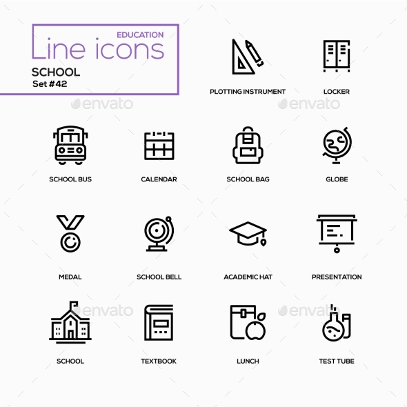 GraphicRiver School Concept Line Design Icons Set 20794013