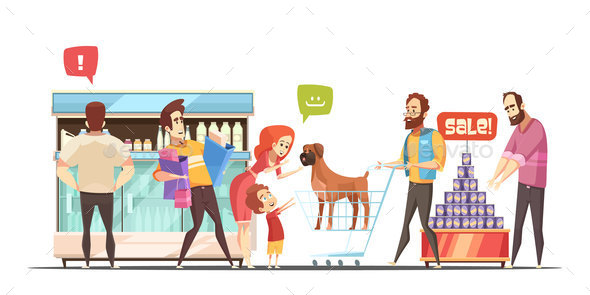 Family In Supermarket Design Concept - Miscellaneous Vectors