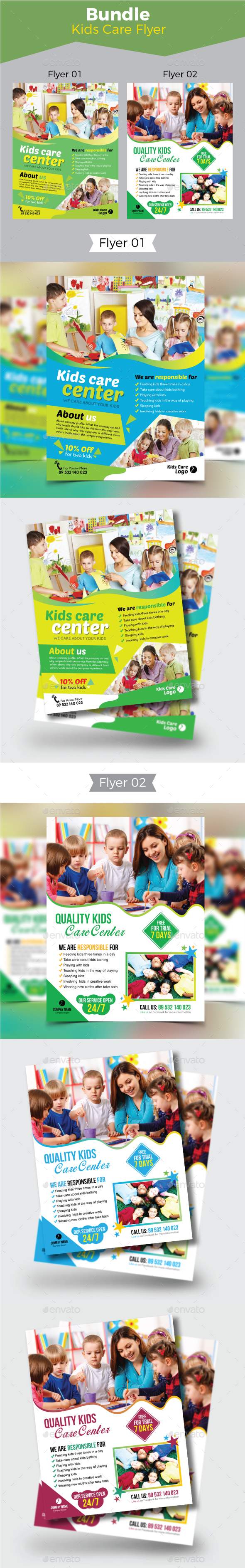 Kids Care Flyer Bundle - Flyers Print Templates