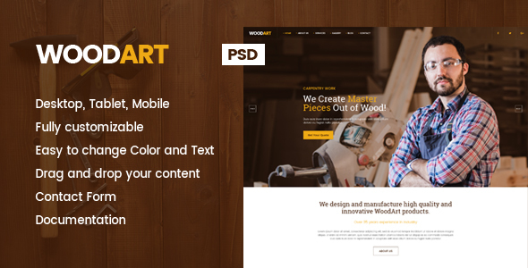 WoodArt - Carpenter PSD Template - Miscellaneous PSD Templates