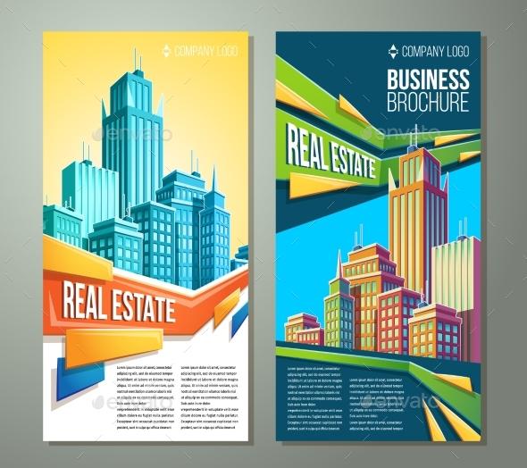 Set of Vertical Vector Cartoon Illustrations - Backgrounds Business