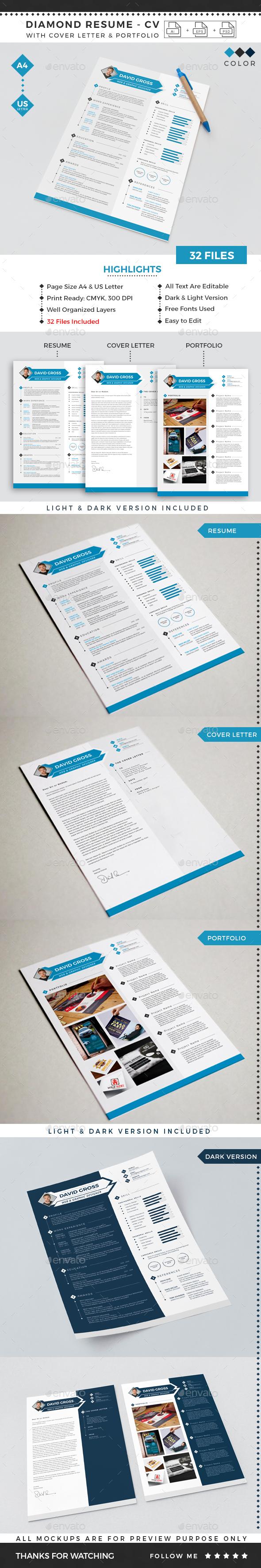 GraphicRiver Diamond Resume CV Template 20777005