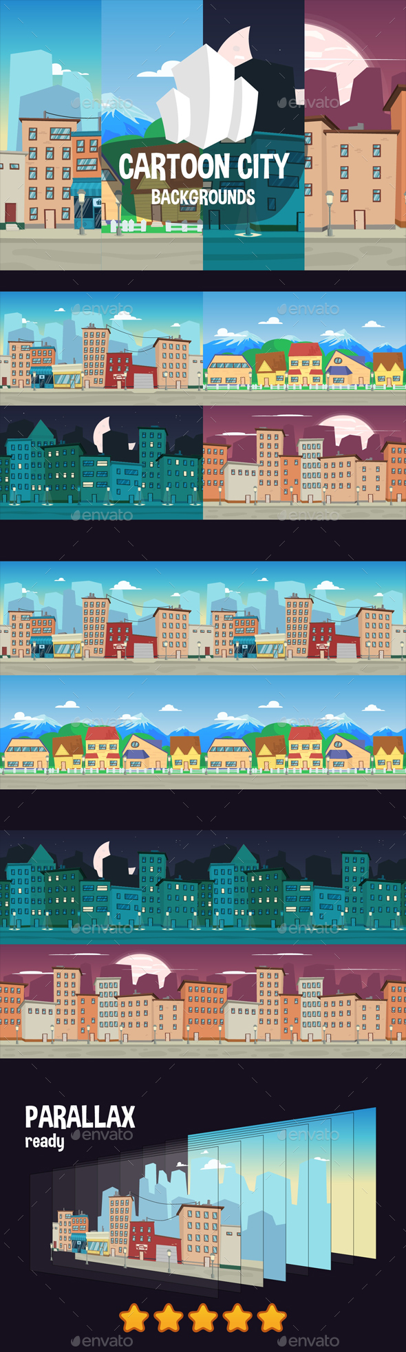 City Game Backgrounds - Backgrounds Game Assets