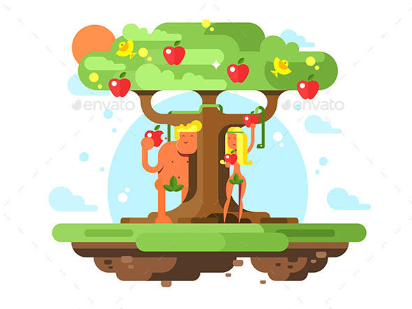 GraphicRiver Adam and Eve Near Apple Tree 20795242