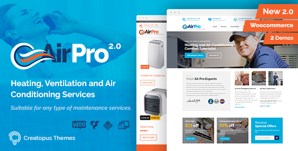 AirPro - Heating and Air conditioning WordPress Theme for Maintenance Services - Business Corporate