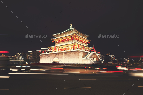 Xian bell tower at night, China. - Stock Photo - Images
