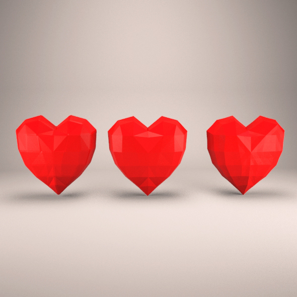 3DOcean Low Poly Hearts 20795635
