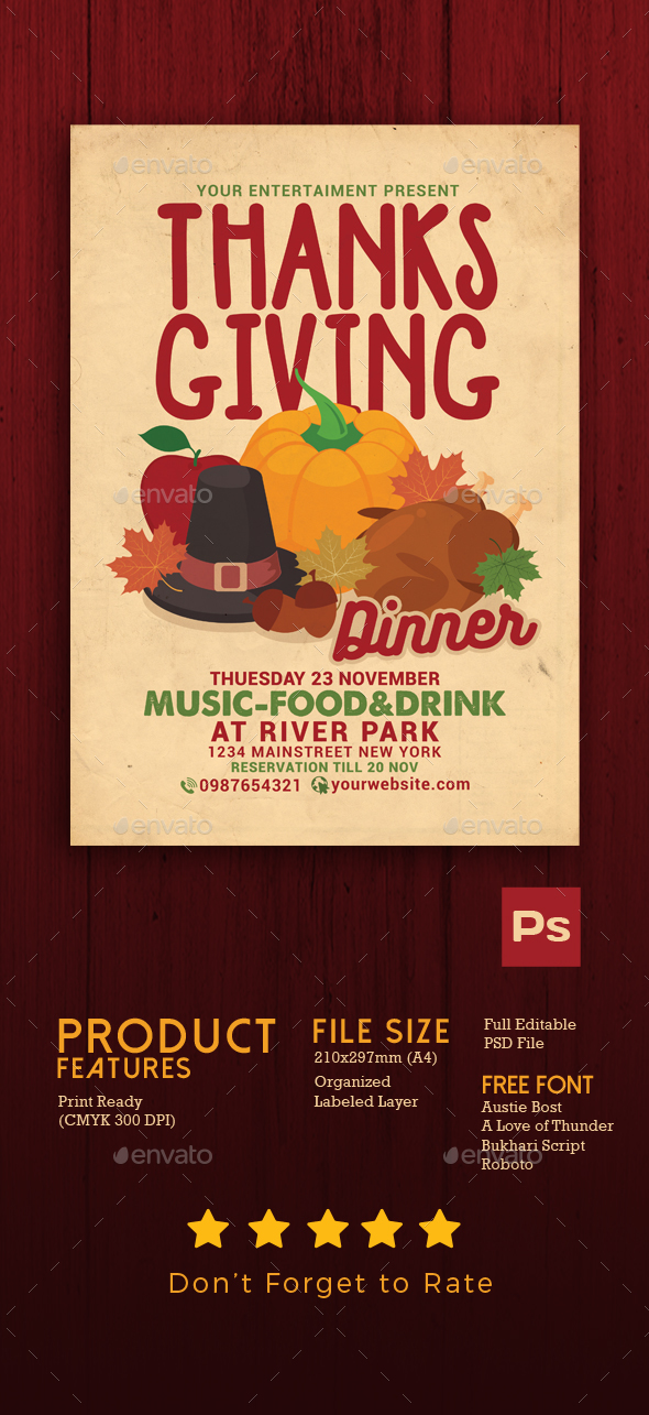 Thanksgiving Dinner Celebration Flyer - Events Flyers