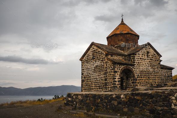 Monastery of Sevanavank in Lake Sevan. Armenia. - Stock Photo - Images
