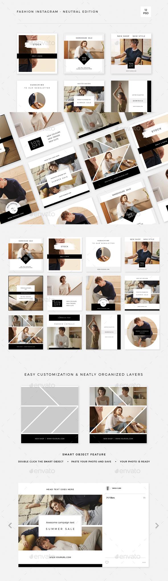 Fashion Instagram - Neutral Edition - Social Media Web Elements