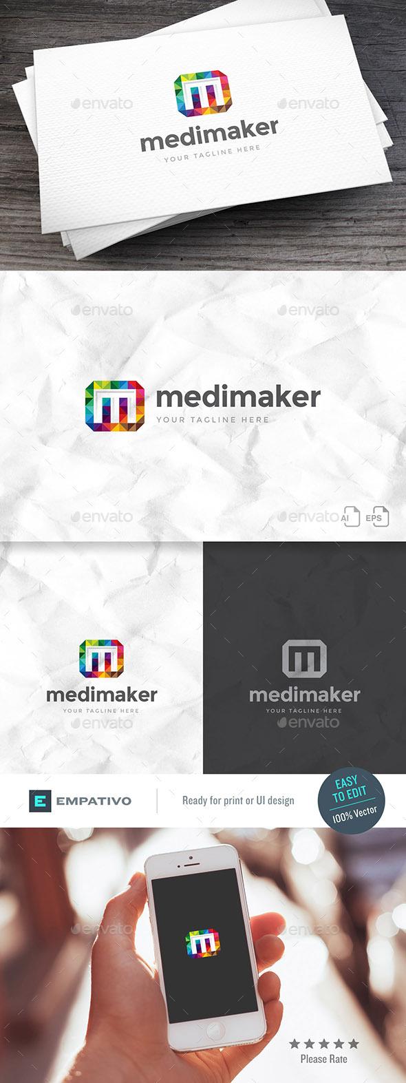 Mediamaker Letter M Logo Template - Letters Logo Templates