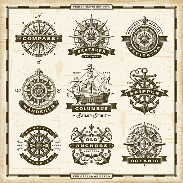 GraphicRiver Vintage Nautical Labels Collection 20795888