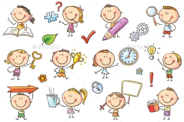 Kids with Symbols - Miscellaneous Vectors