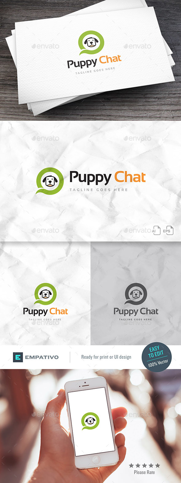 Puppy Chat Logo Template - Animals Logo Templates