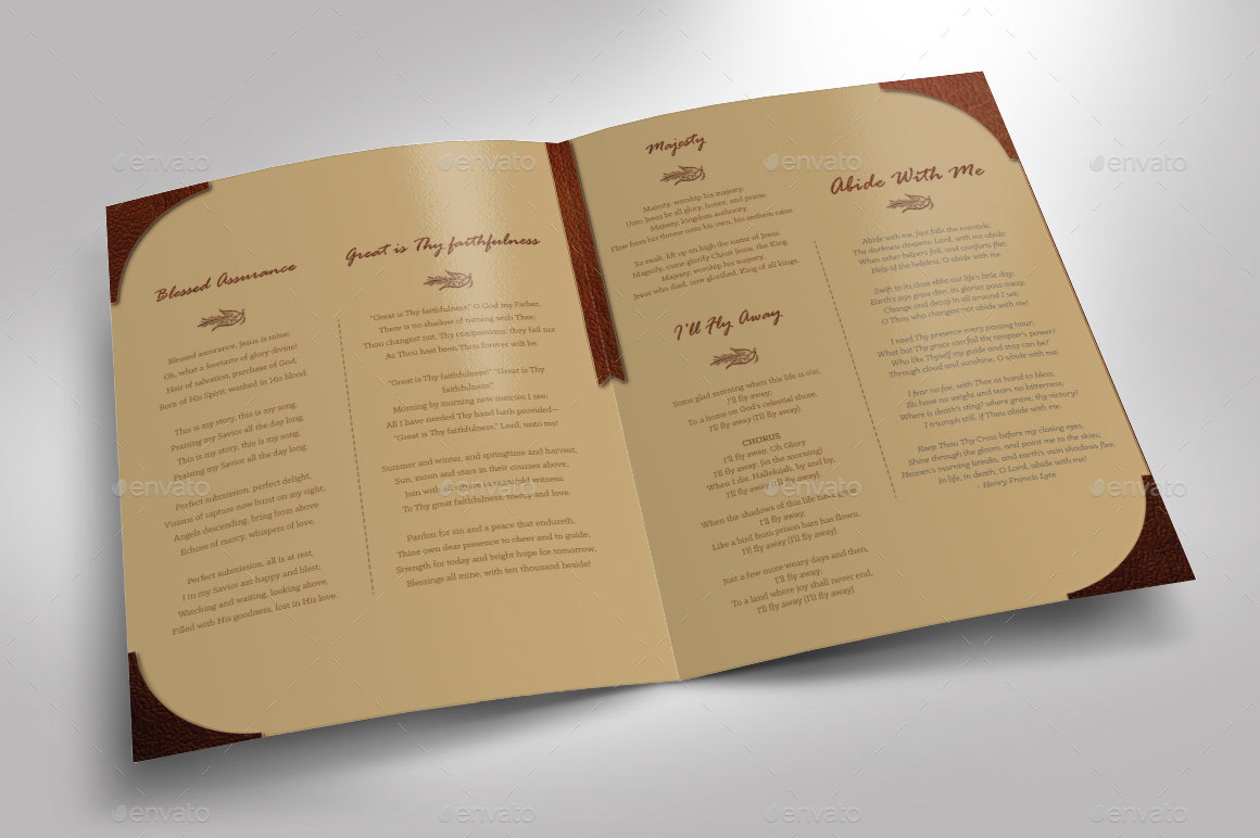 Leather Funeral Program Template - 8 Pages by Godserv | GraphicRiver