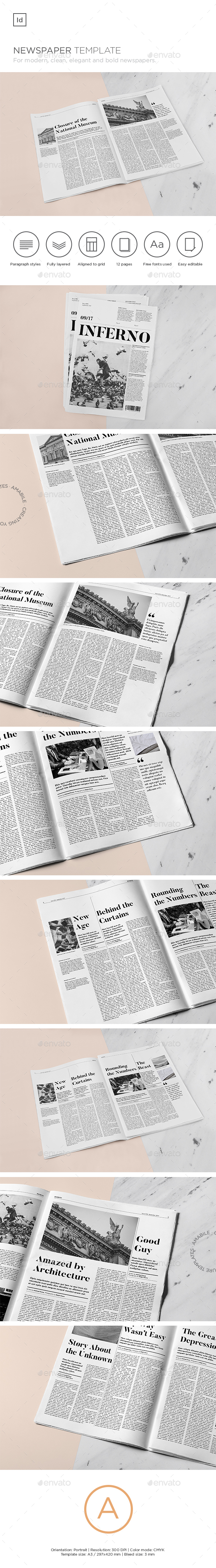 Inferno Newspaper Template - Newsletters Print Templates