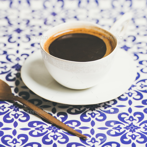 Cup of black Turkish or Eastern style coffee, selective focus - Stock Photo - Images
