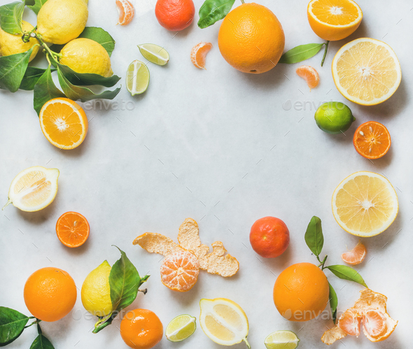 Variety of fresh citrus fruit, healthy eating concept - Stock Photo - Images
