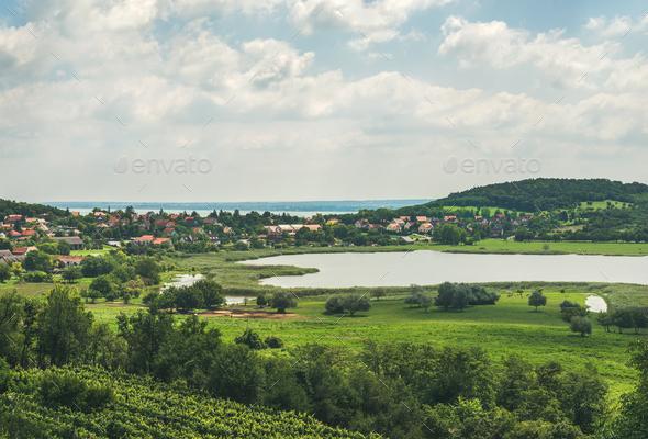 View over wineyards and Tihany village, Lake Balaton, Hungary - Stock Photo - Images