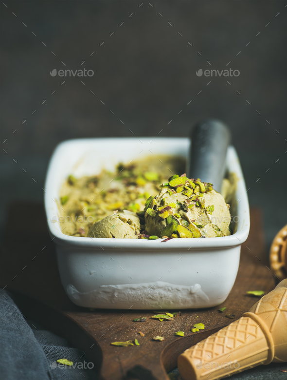 Homemade pistachio ice cream in ceramic mold - Stock Photo - Images