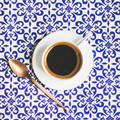 Cup of black Turkish or Eastern style coffee, square crop