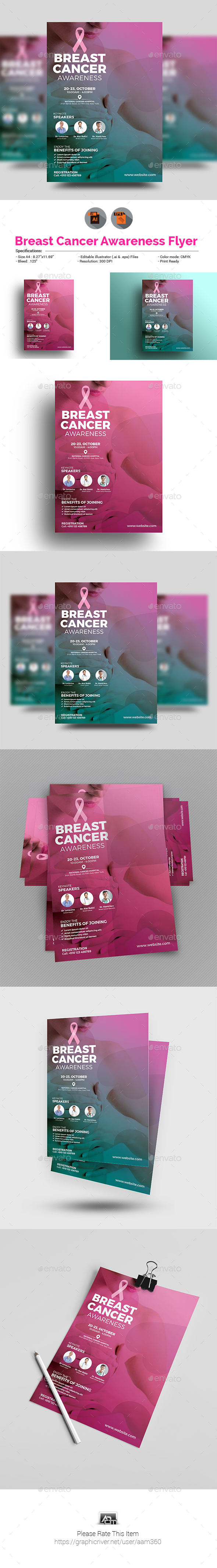 GraphicRiver Breast Cancer Awareness Month Flyer 20796598