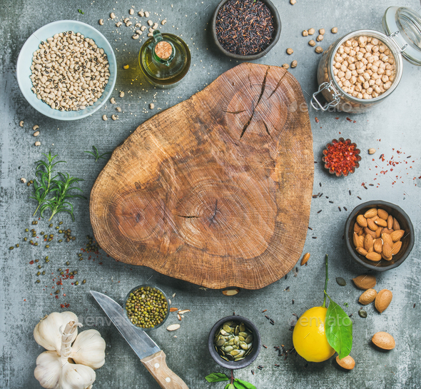 Ingredients for healthy cooking over grey concrete textured background - Stock Photo - Images