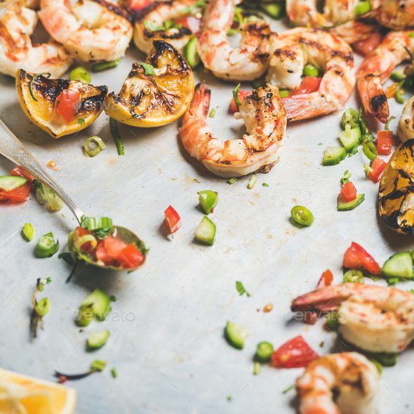Grilled tiger prawns with lemon and mint salsa, square crop - Stock Photo - Images