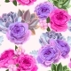Seamless Pattern with Roses and Berries