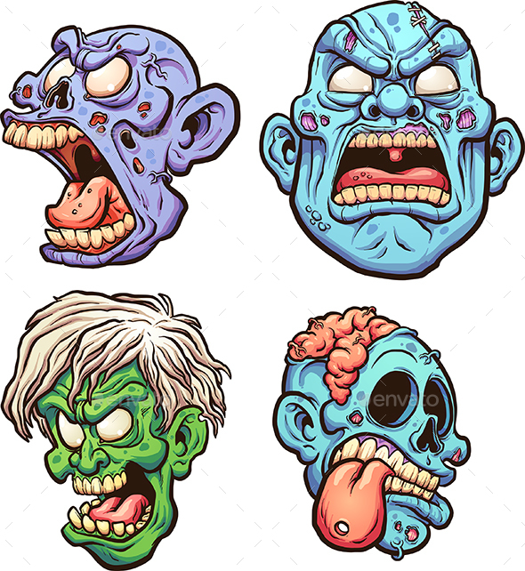 Zombie Heads - Monsters Characters