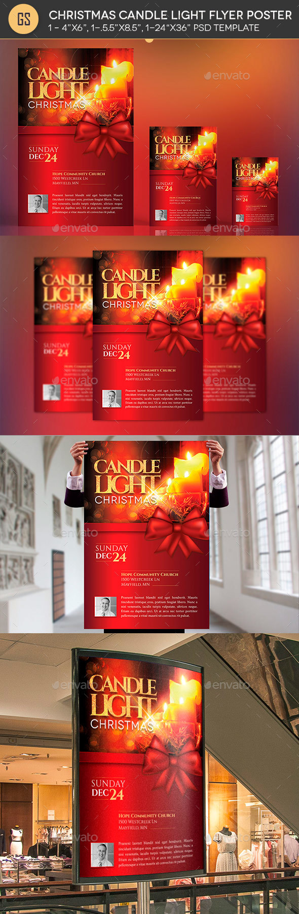 GraphicRiver Christmas Candle Light Flyer Poster Template 20797488