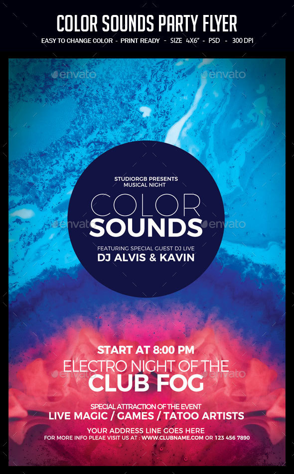 Color Sounds Party Flyer - Clubs & Parties Events