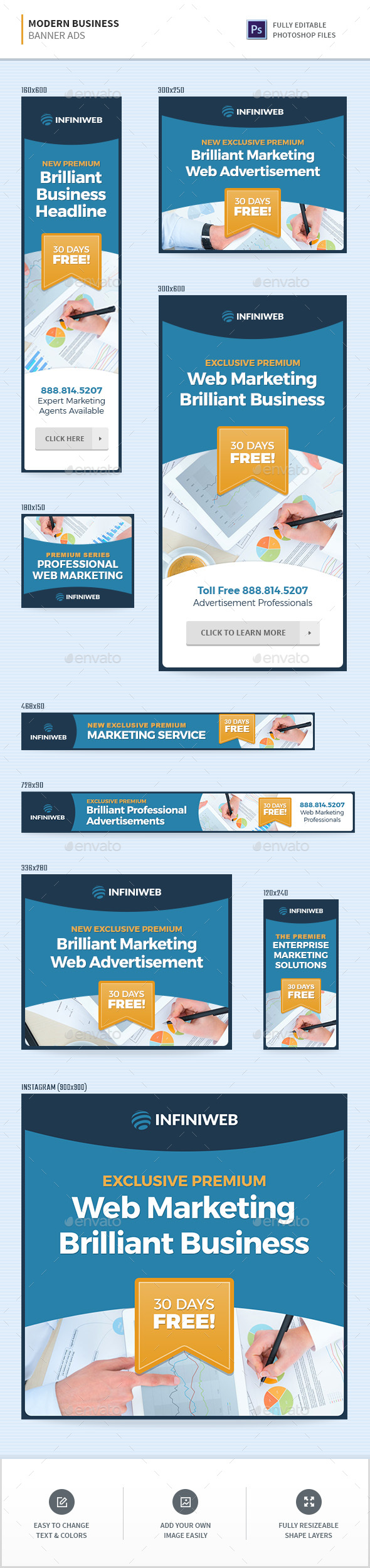 Modern Business Banners - Banners & Ads Web Elements