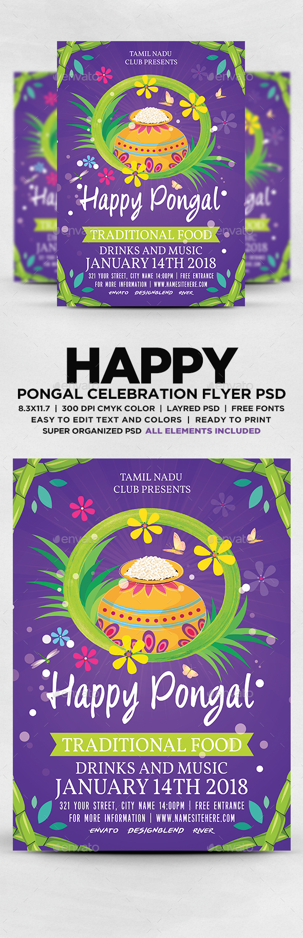 Happy Pongal Festival Flyer - Flyers Print Templates